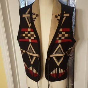 Southwestern Pendleton wool vest with leather ties